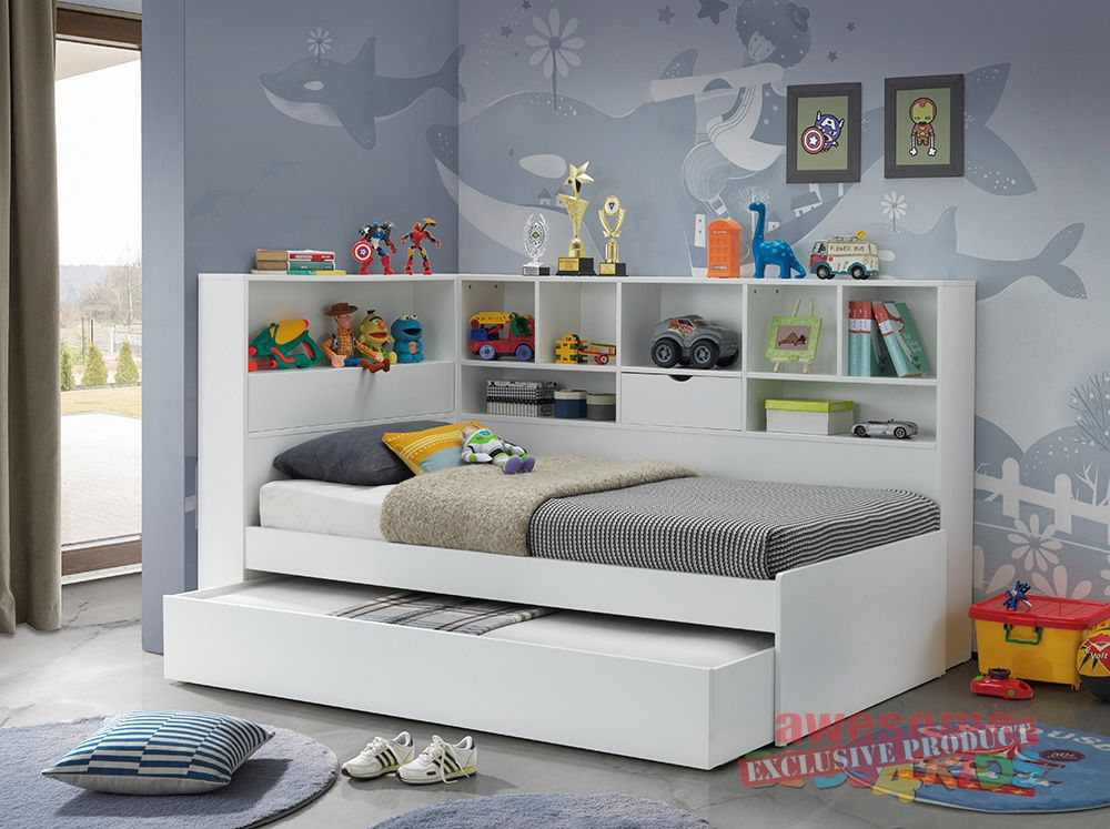 1. Single Miami Trundle with Bookcase Bed Murphy bed
