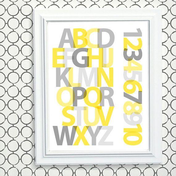 Yellow Gray Nursery Art, Modern Alphabet Art, New Baby Gift