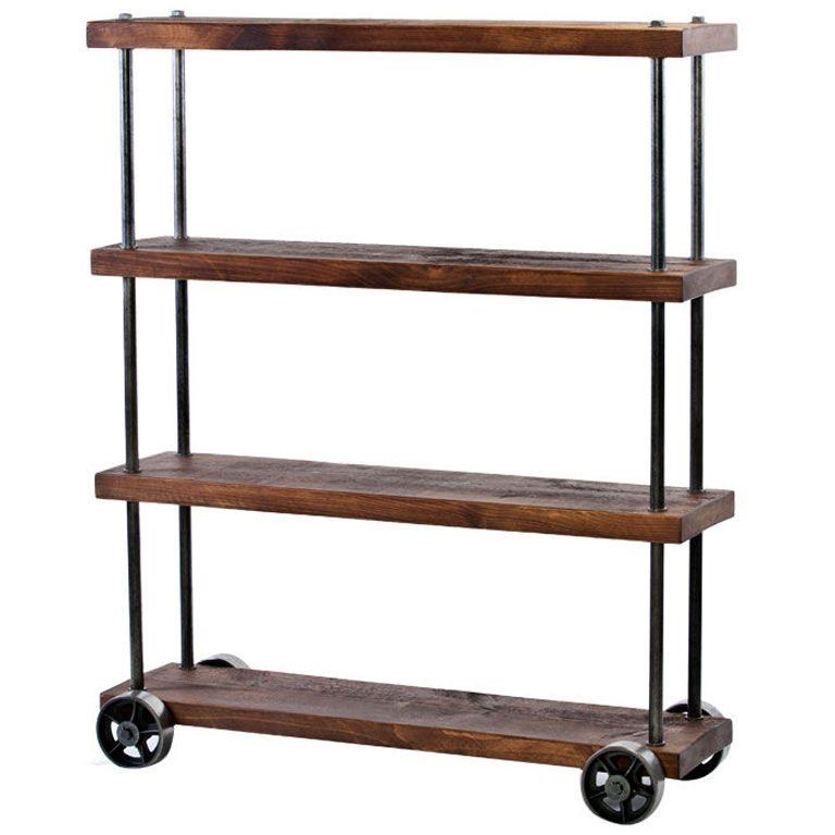 Industrial Rolling Cart Wood u0026 Steel Iron Storage Shelving on Casters  sc 1 st  Pinterest & Industrial Rolling Cart Wood u0026 Steel Iron Storage Shelving on ...