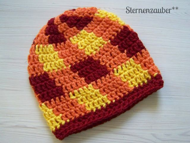 haekelmuetze #crochet hat #pattern #coloured check | Crochet hats ...