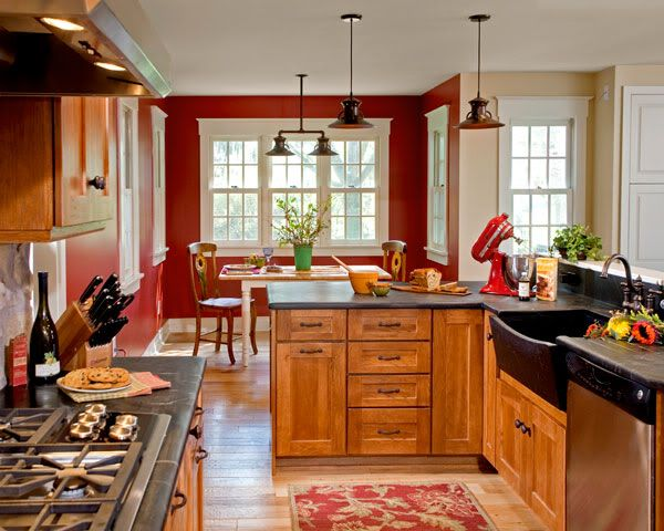 Red Kitchen Walls With Maple Cabinets