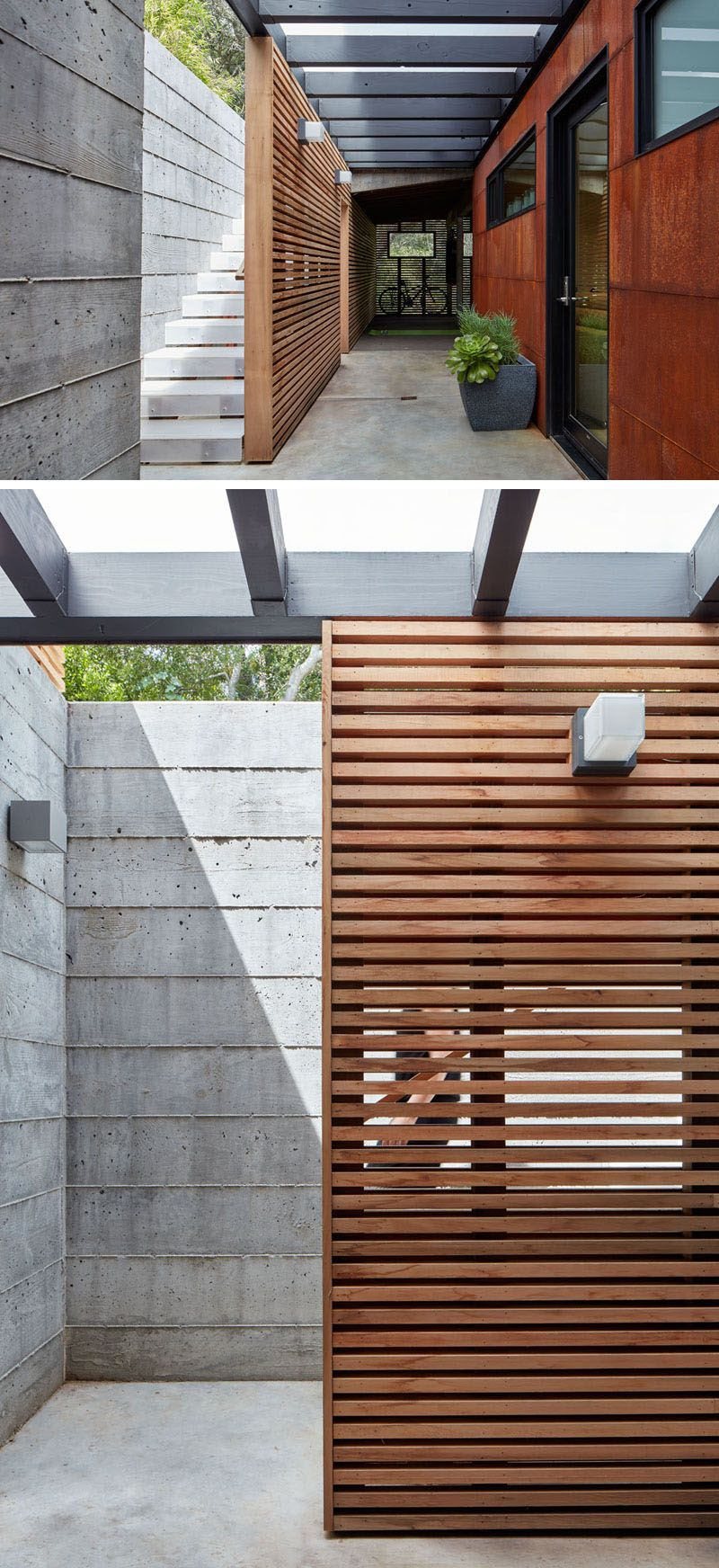 These Concrete Exterior Stairs Have a Wooden Privacy Screen