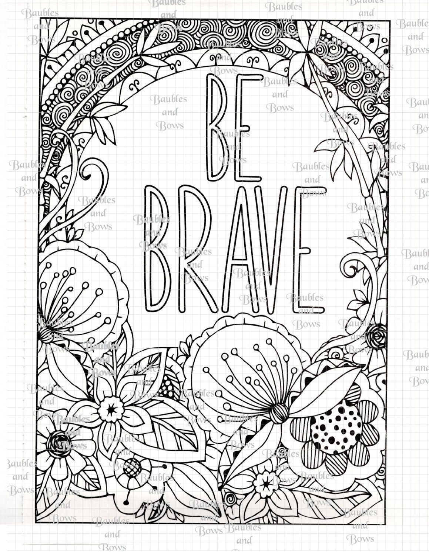 Brave Printable Adult Mandala Coloring Page Digital By Sewlacee