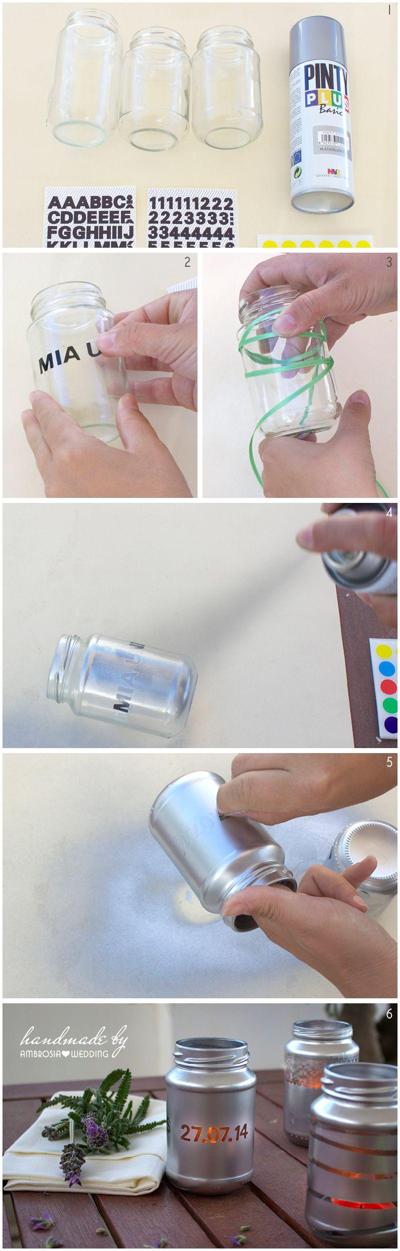 Anleitung wie man Glas Windlichter selber macht und diese für die Hochzeit als Deko verwendet. Wie Du Windlichter selber machen kannst siehst Du hier