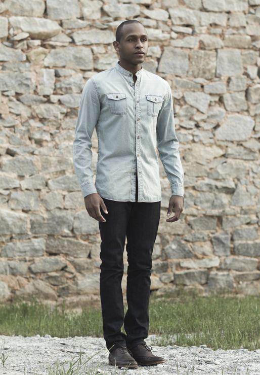 Zara light blue jean button down collarless shirt | dark denim ...
