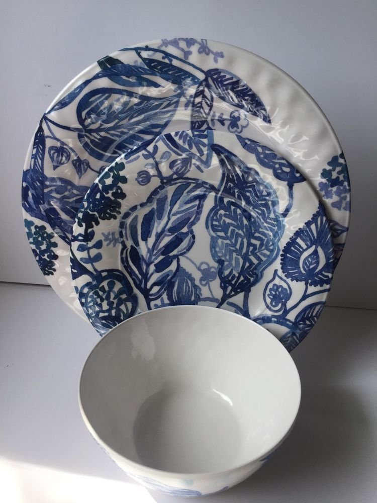 Cynthia Rowley 12pc Dinnerware Set Melamine BLUE WHITE Floral DURABLE new & Cynthia Rowley 12pc Dinnerware Set Melamine BLUE/WHITE Floral ...