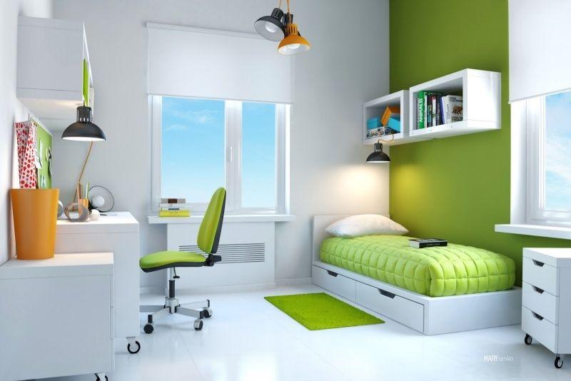 gestaltung im trend kinderzimmer f r jungen 2015 gr ne wand stuhlsitz und bettdecke. Black Bedroom Furniture Sets. Home Design Ideas