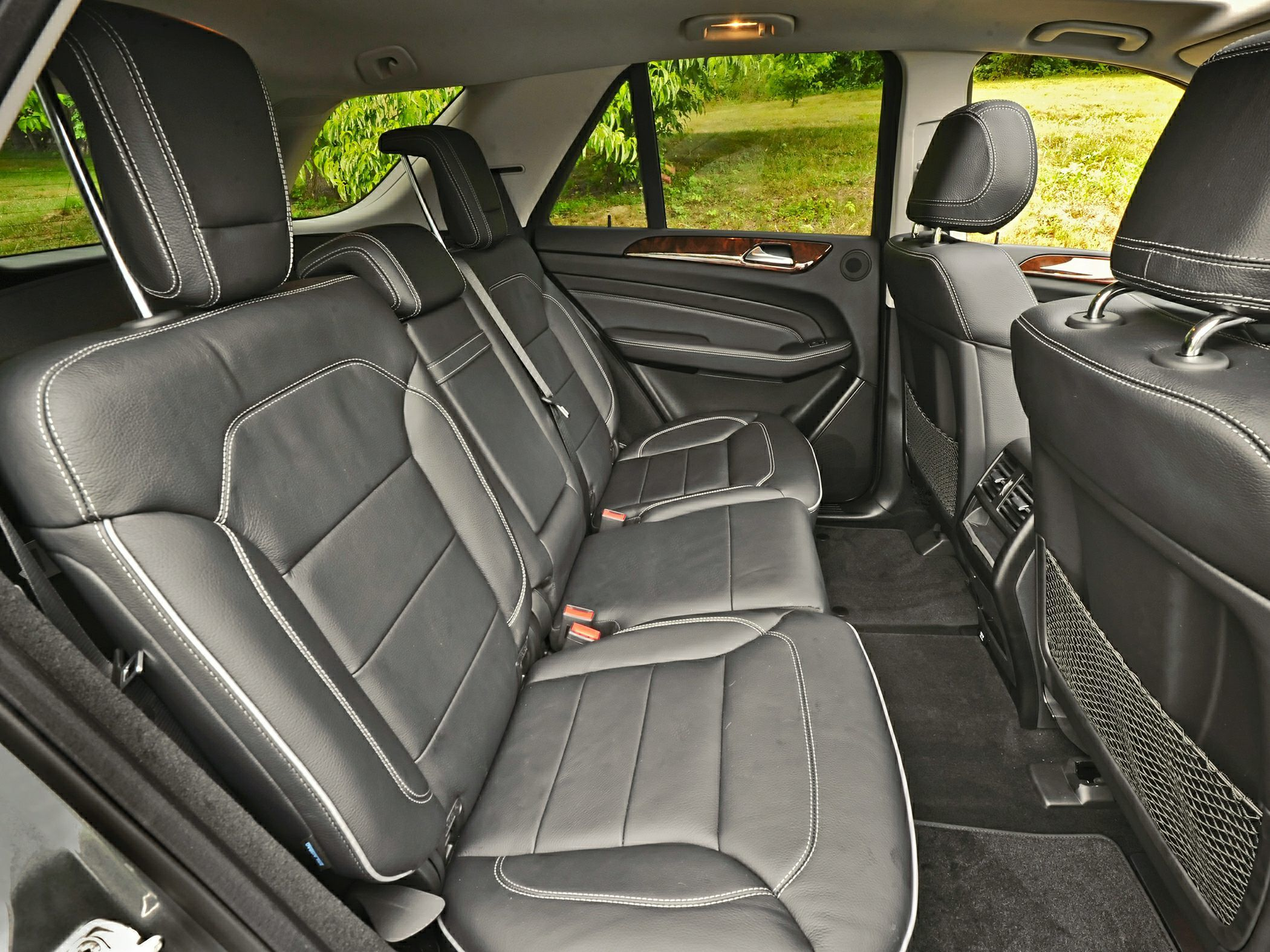 the backseat of the 2012 mercedenz benz m class suv is nice and spacious