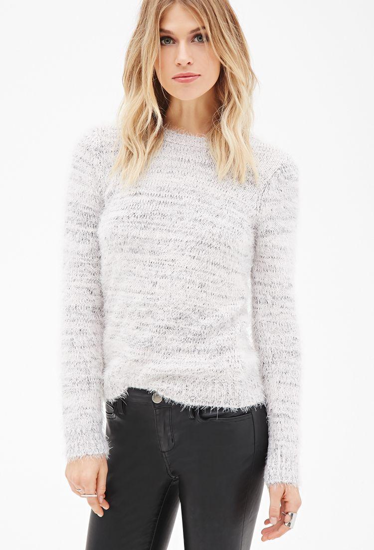b6f55b77f0f7f8 Fuzzy Marled Knit Sweater