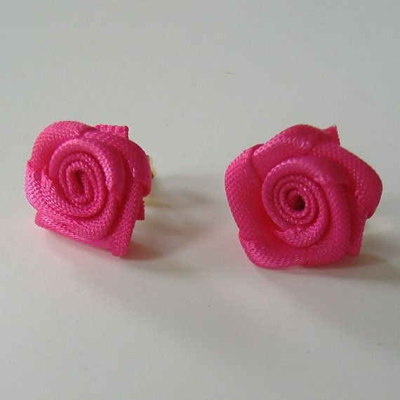 Red Rose Earrings Mini Rose Pierced Earrings by WildBeanSprouts