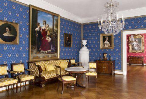 Blick in den Blauen Salon im Schlossmuseum Darmstadt