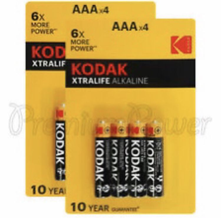 8 X Aaa Kodak Xtralife Alkaline Batteries 1 5v Lro3 Long Lasting Battery Sizes Duracell Batteries Alkaline Battery