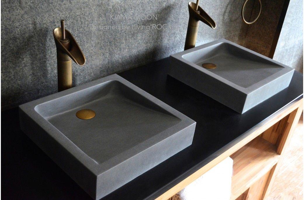 Gray Rectangular Vessel Sinks 16 Gray Basalt Stone Bathroom