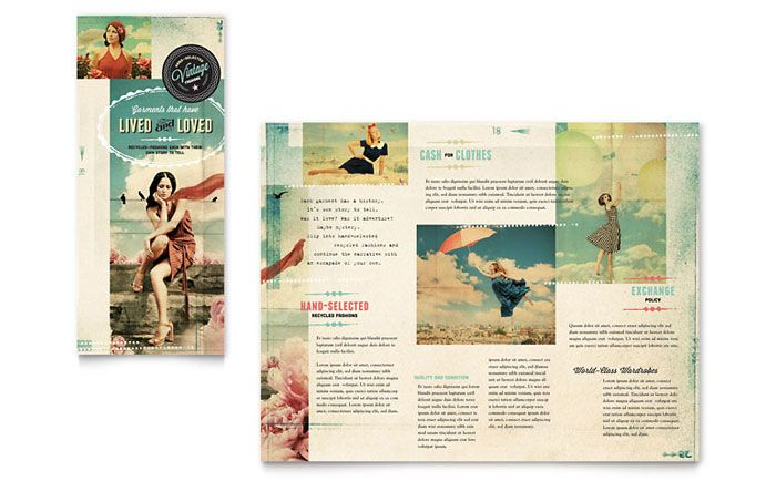 vintage clothing tri fold brochure design template by stocklayouts