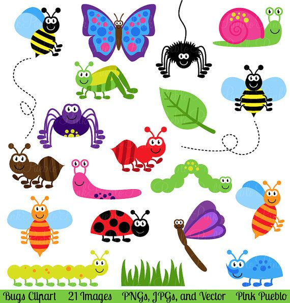Bugs Clipart Clip Art Insects Clipart Clip Art Vectors Etsy Insect Clipart Clip Art Stationery Stamp
