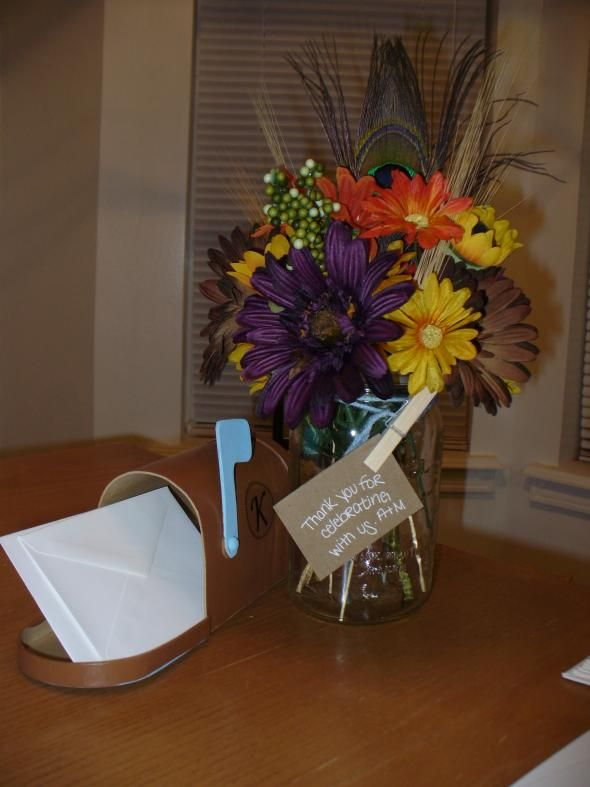 Mason Jar Flowers And Message Mailbox Wedding Blue Brown Centerpiece Country Diy Fall