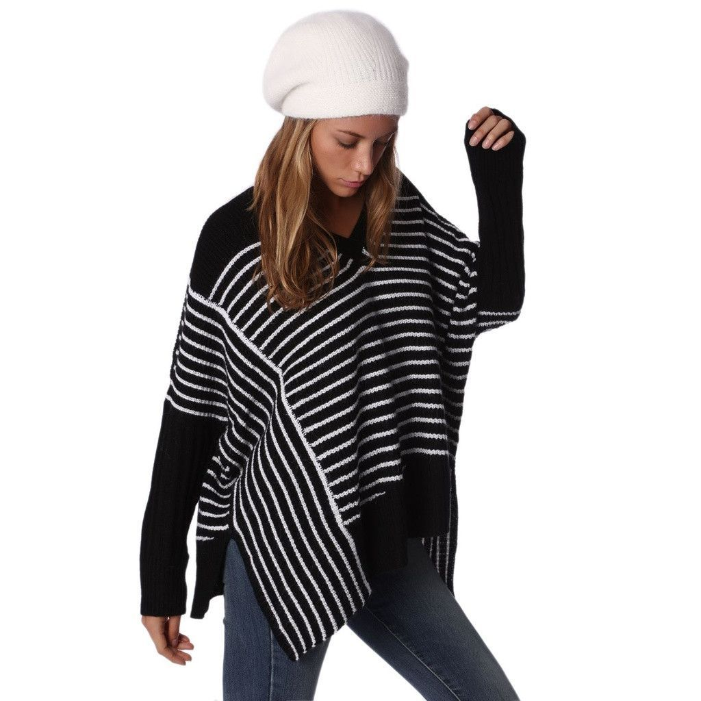 Black Oversized Striped Sweater