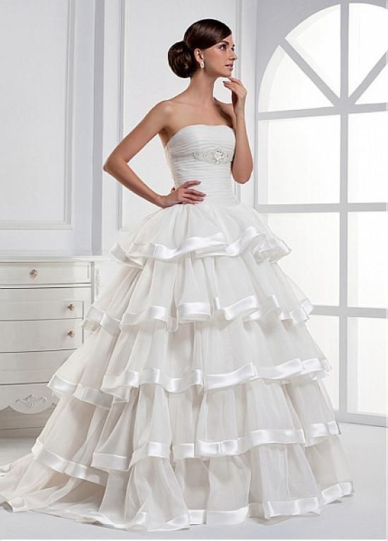 FUTURISTIC SATIN ORGANZA SATIN STRAPLESS NECKLINE WAIST LAYERED WEDDING DRESS WITH BEADED EMBROIDERED FLOWERS