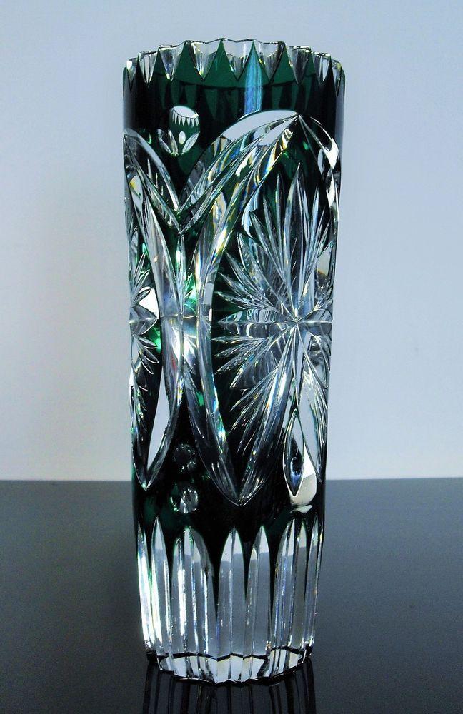 Magnifique Ancienne Vase Cristal Couleur Vert Taille Grave Boheme