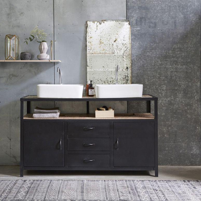 industriel metal and mango vanity cabinet 140 our. Black Bedroom Furniture Sets. Home Design Ideas