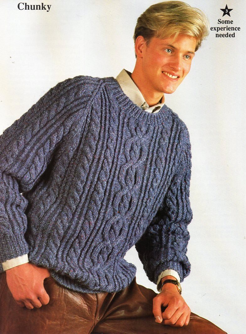 6171294bc3e44 mens chunky aran sweater knitting pattern PDF bulky mans cable jumper crew  neck 34-44 inch chunky bulky 12ply Instant download by Hobohooks on Etsy