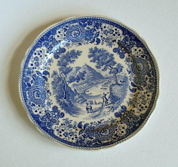 3 Antique Villeroy Boch Burgenland Blue Dinner Plates Made In