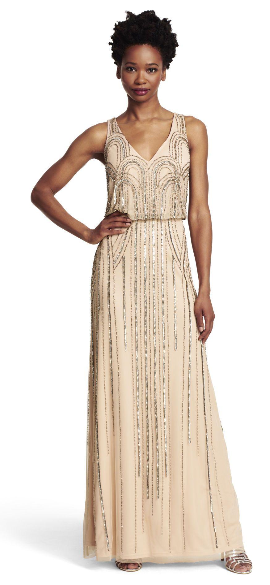 Sleeveless blouson gown with art nouveau beading adrianna papell sleeveless blouson gown with art nouveau beading ombrellifo Images