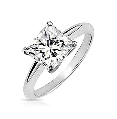 Bling Jewelry Sterling Silver CZ Princess Cut Solitaire Engagement Ring