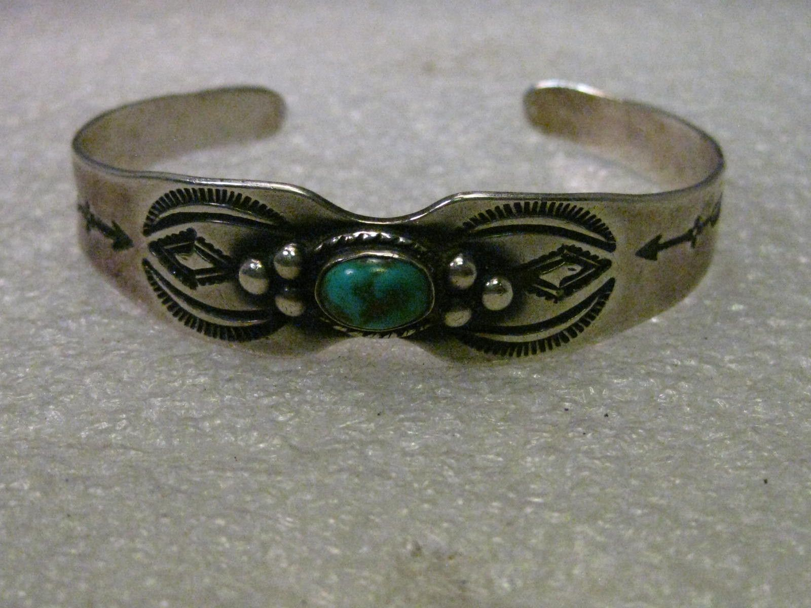 """Vintage Sterling Silver Turquoise Native American/Southwestern Stamped Cuff Bracelet, 6"""""""