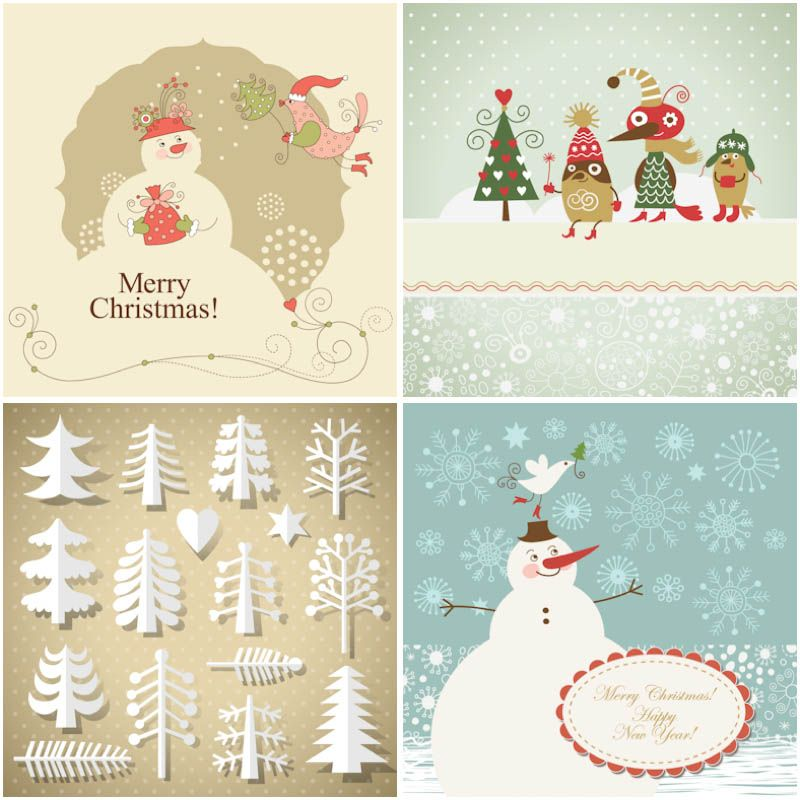 Set Of Vector Vintage Christmas Trees Designs In Hand Drawn Style With  Gilded Finish For Your Christmas Designs, Greeting Cards, Banners, Flyers  And Other