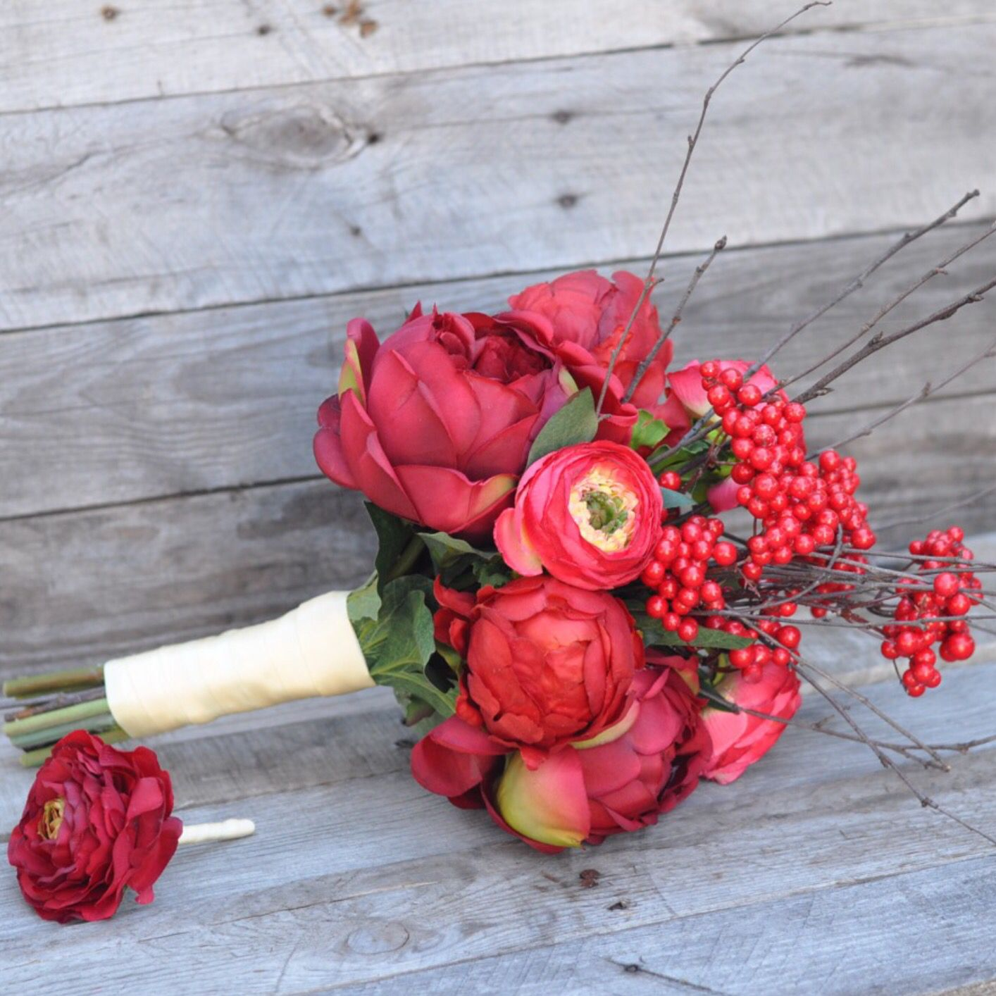 Fall Silk Wedding Bouquet With Raw Silk Ribbon And Matching