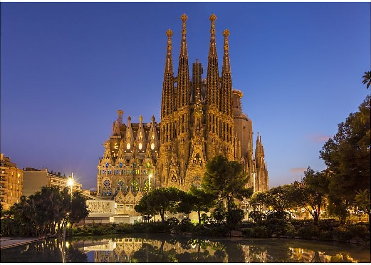 7x5 Inch (18x13cm) Print (other products available) - La Sagrada Familia church lit up at night designed by Antoni Gaudi, UNESCO World Heritage Site, reflected in pool, Barcelona, Catalonia (Catalunya), Spain, Europe - Image supplied by WorldInPrint - #MediaStorehouse - 7x5 Inch (18x13cm) Photograph printed in the UK