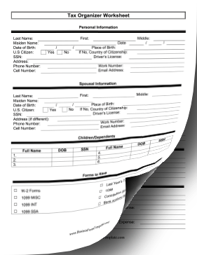 This printable organizer worksheet makes tax returns