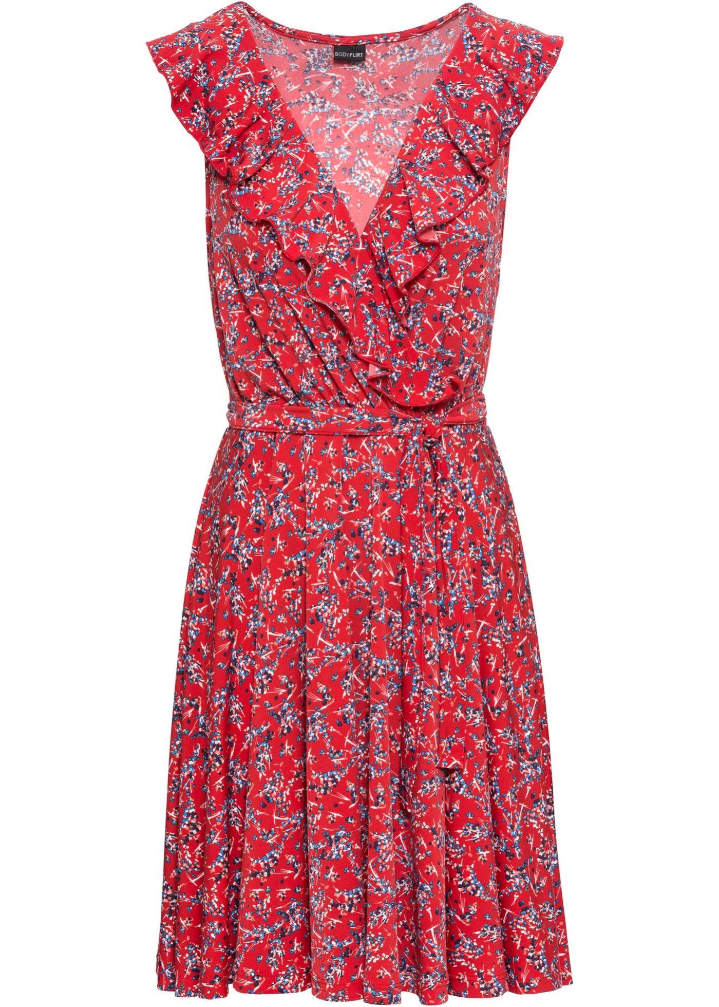 Zauberhaftes Kleid Mit Volants Schwarz Bedruckt In 2020 Blumchenkleid Kleider Armelloses Kleid