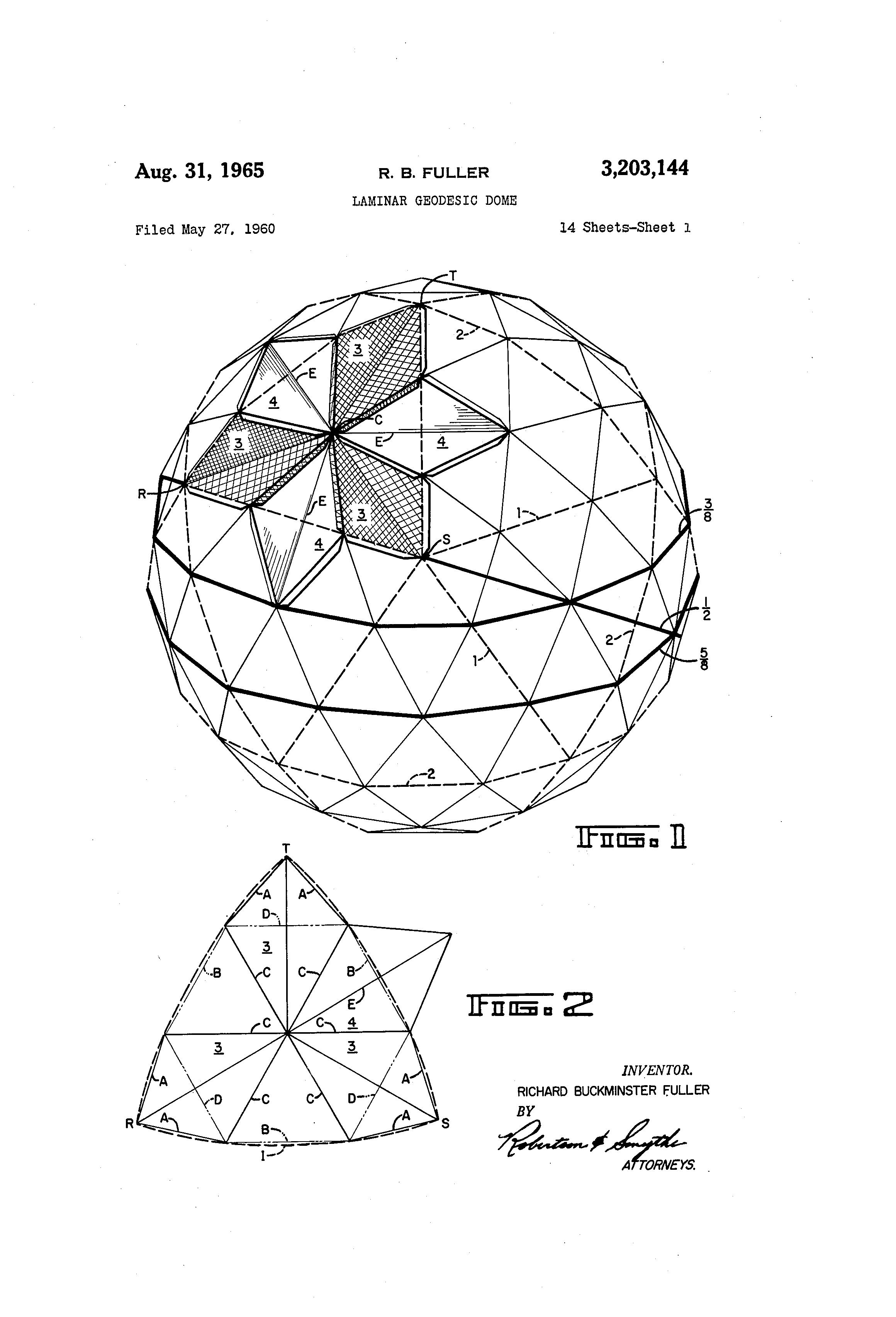 Buckminster Fuller Patent Drawings Laminar Geodesic Dome