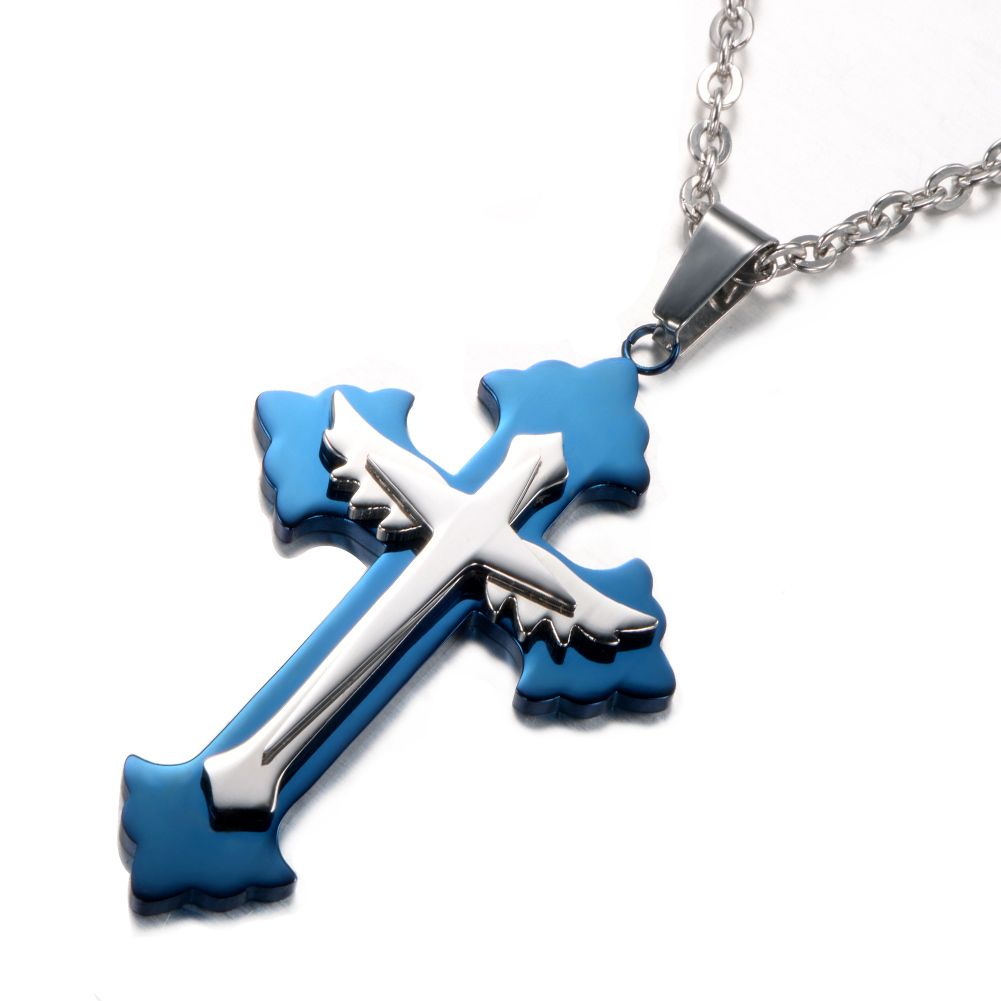 """Unistyle Stainless Steel Jewelry Vintage Blue Cross Pendant Necklace with 22"""" Chain http://www.amazon.com/dp/B00Z5KVPBS"""