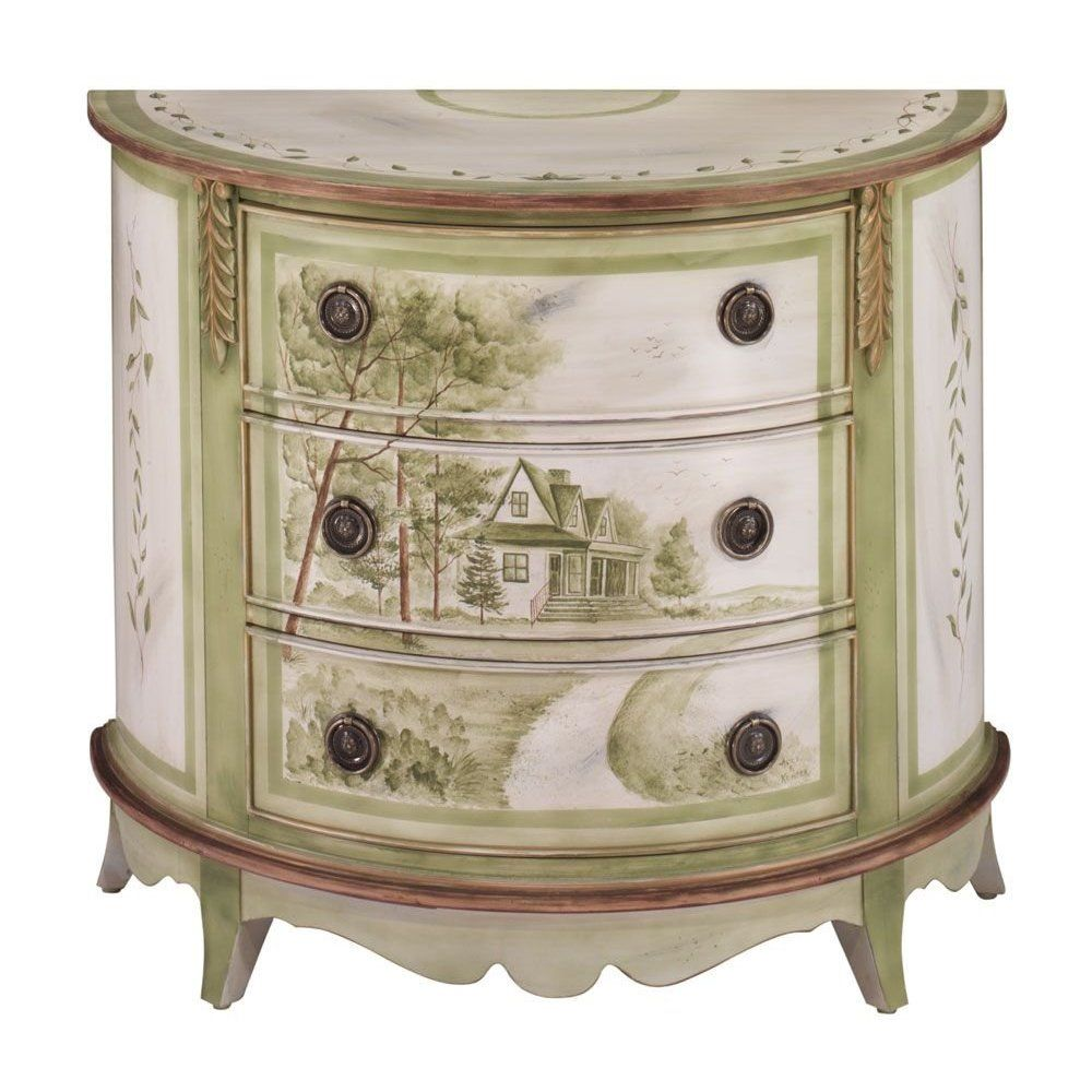 Awesome Demilune 3 Drawer Chest W/ Serenity Hand Painting By Jasper Cabinet    Antique French White