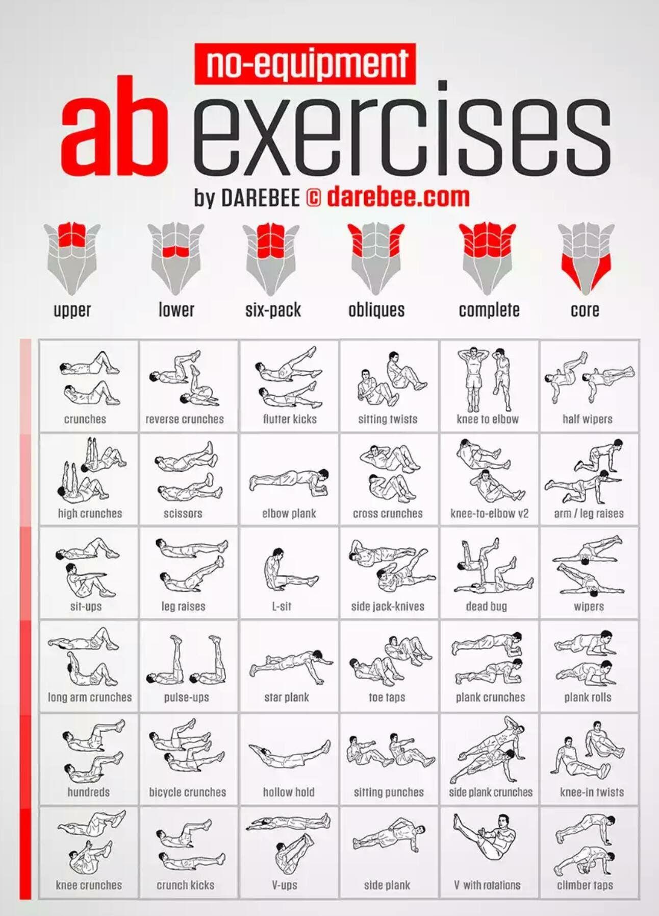 tabla de ejercicios semanales para gimnasio