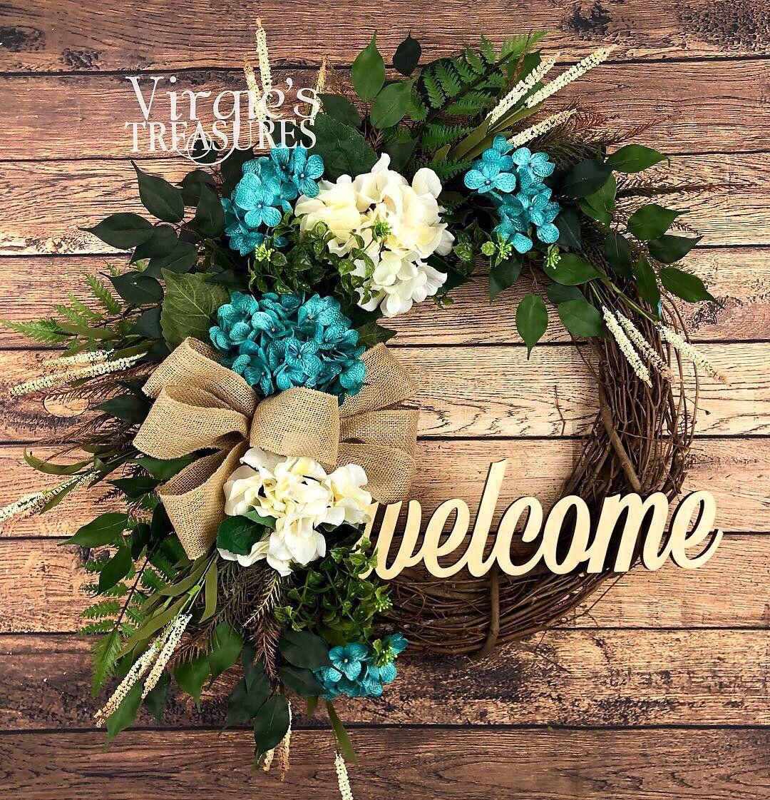 Photo of Premium Hydrangea Wreath, Blue and Cream Hydrangea Wreath, Summer Grapevine Wreath, Spring Wreath, Welcome Wreath, Front Door Wreath