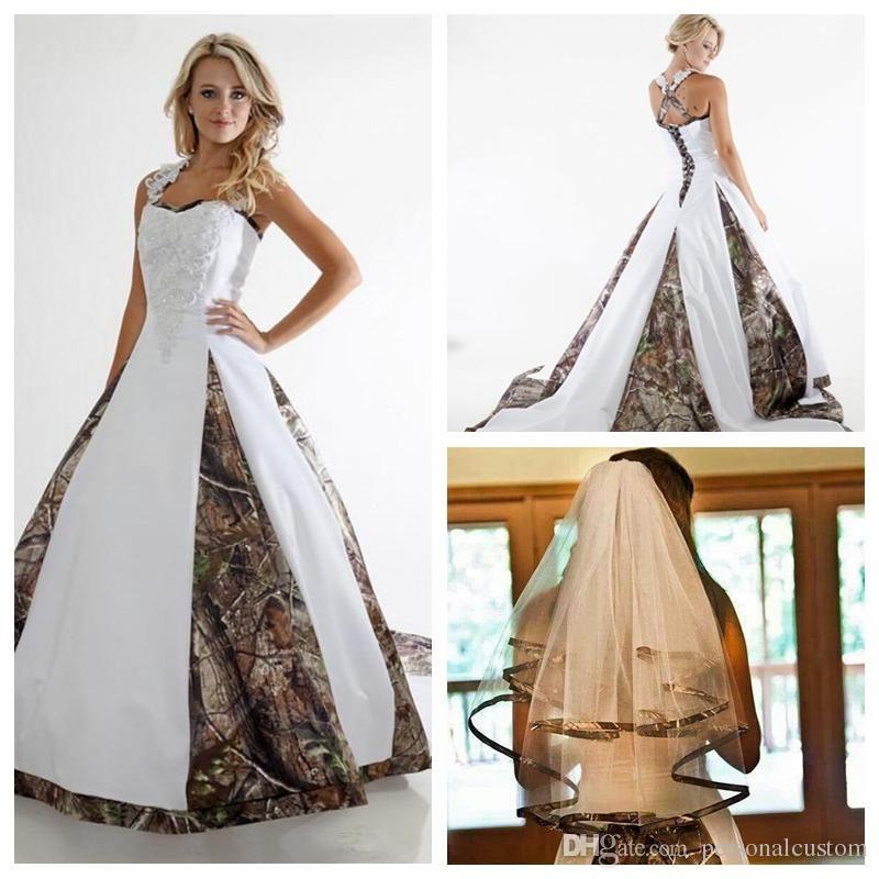 Vintage A Line Lace Applique Camo Wedding Dresses Custom Plus Size