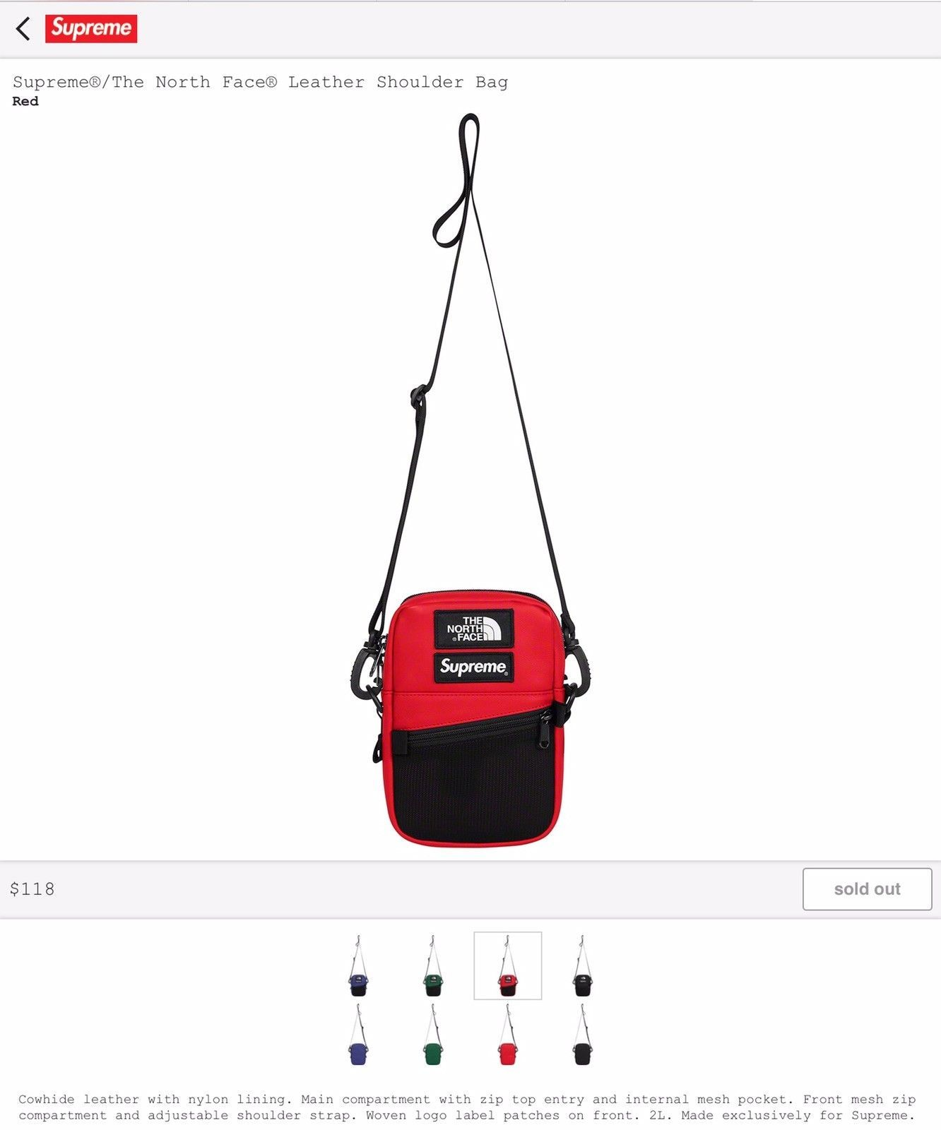 0c9baa261f Supreme x The North Face (TNF) Shoulder Bag Red FW18