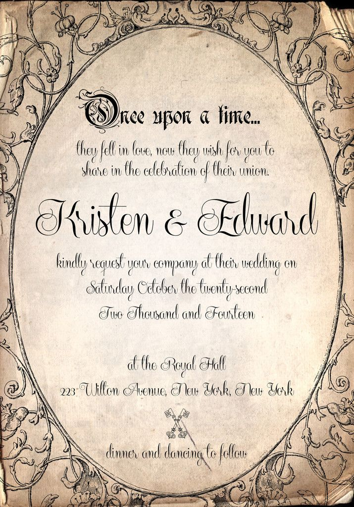 Storybook fairytale once upon a time wedding Invitation by