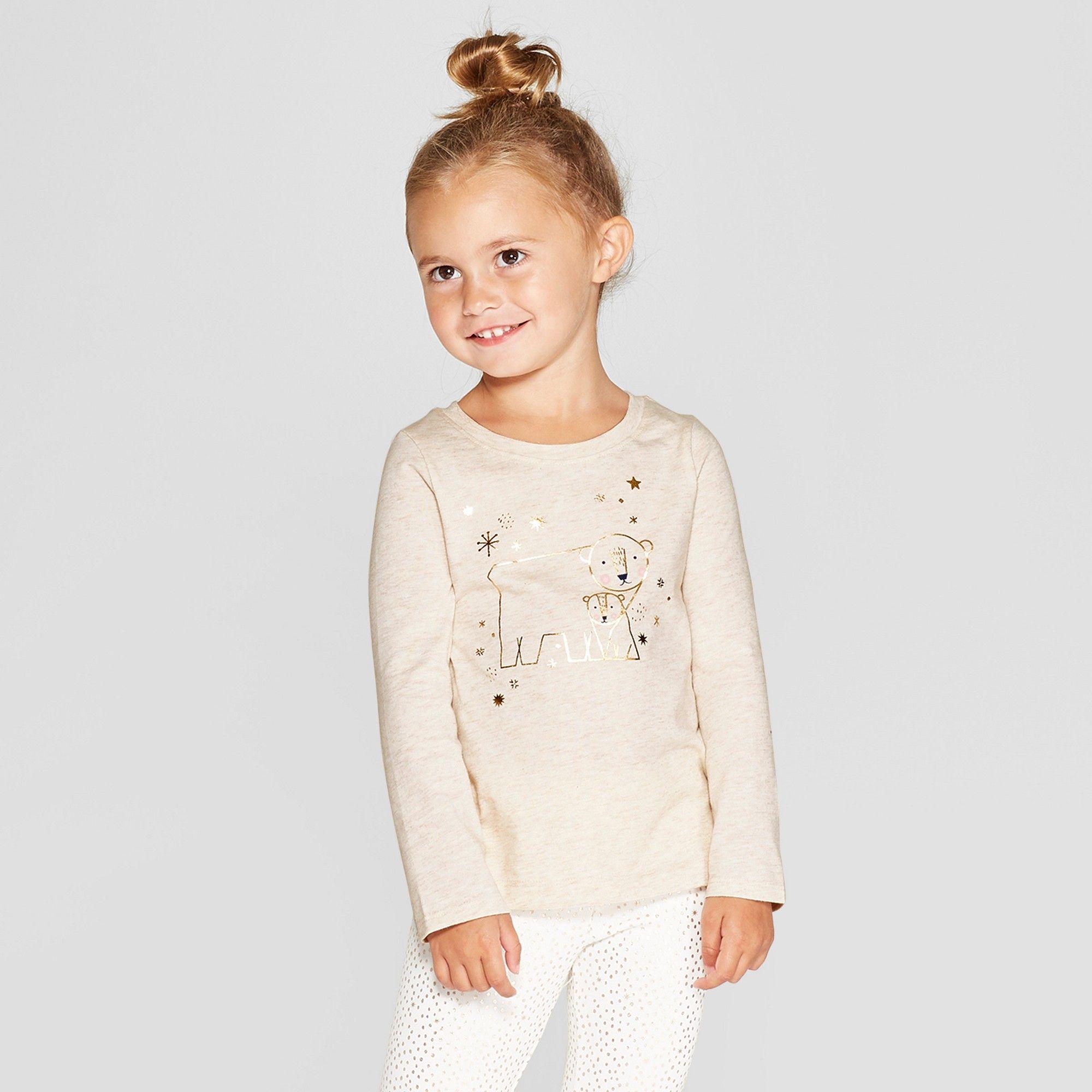 ab8425add Toddler Girls' Long Sleeve 'Polar Bear' Graphic T-Shirt - Cat & Jack  Oatmeal 12M, Brown