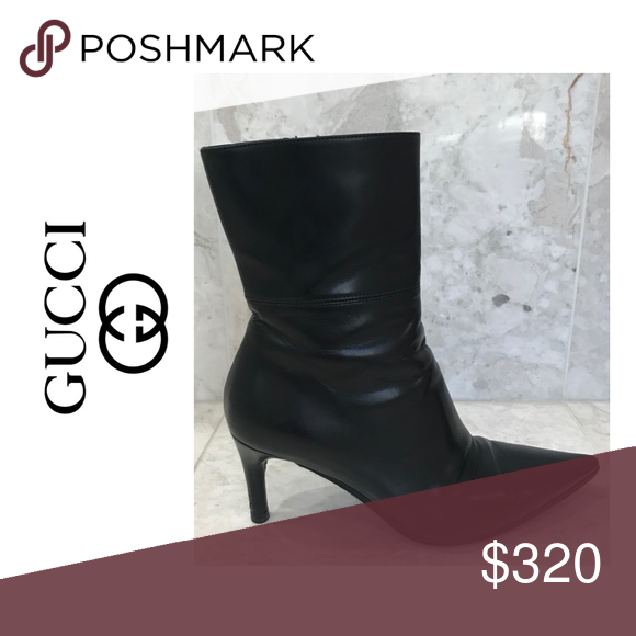 GUCCI 🥳FLASH SALE🥳 Booties Leather Healed Black