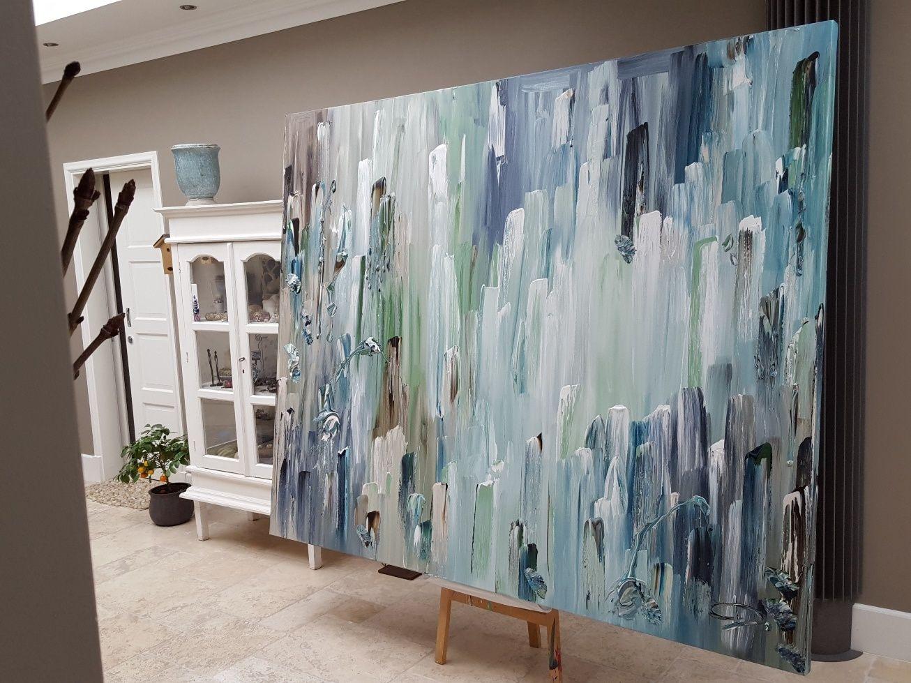 Zéphyr, door Taupe STUDIO: groot abstract schilderij in ijsblauw ...