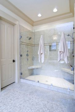 Double Shower Design Ideas, with towel hooks