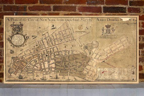 1755 new york vintage map canvas print