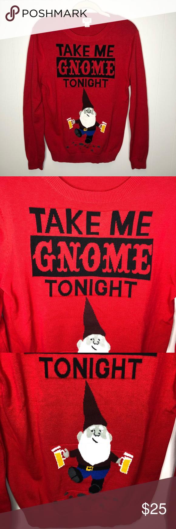 Take Me Gnome Tonight Red Christmas Sweater In 2018 My Posh Closet