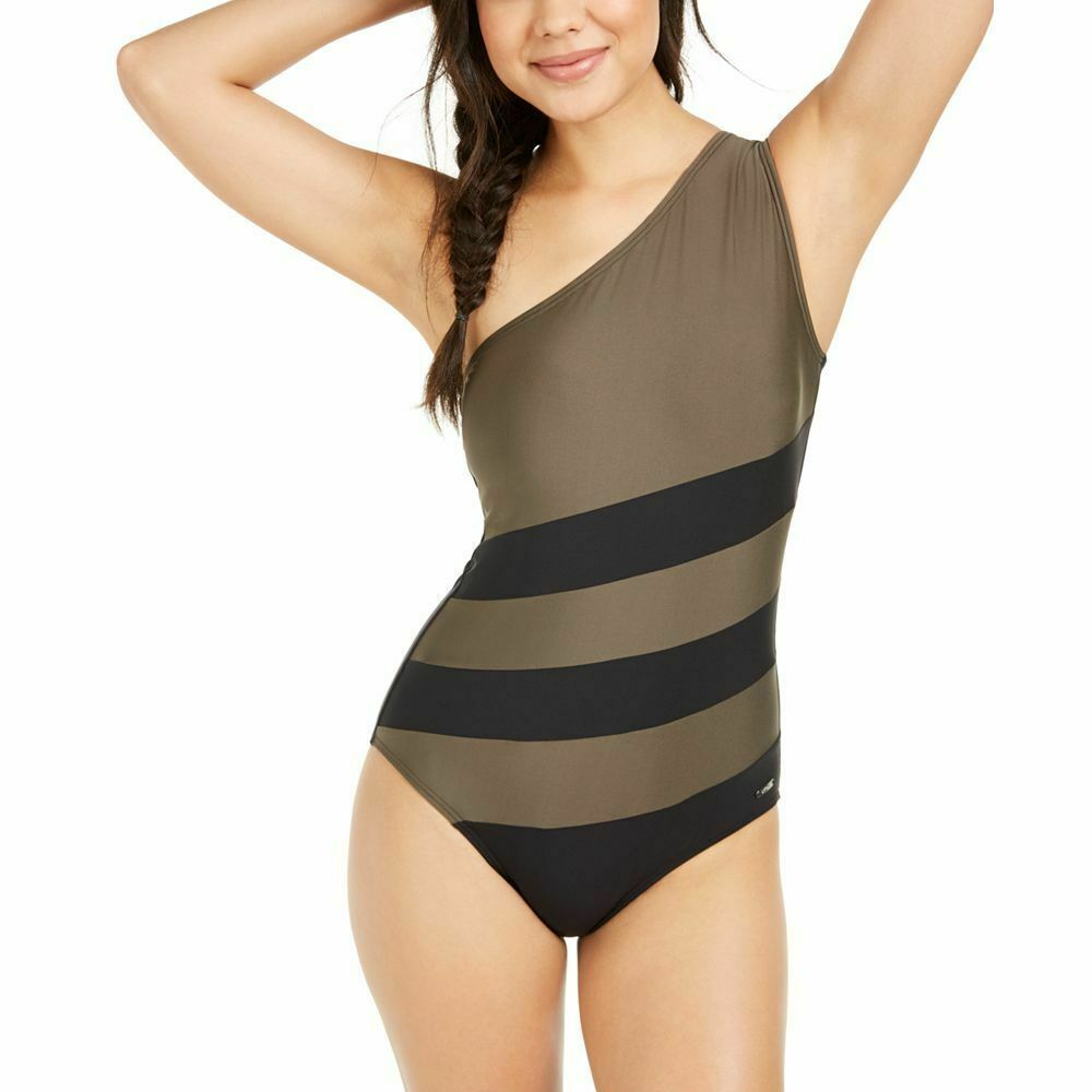 Dkny Colorblocked One Shoulder One Piece Swimsuit Size 10 Dkny One Piece Swimsuit One Piece Swimsuits