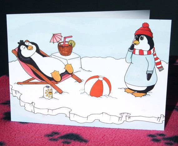 Penguin Card Penguin Birthday Card Funny Penguin A5 Animal